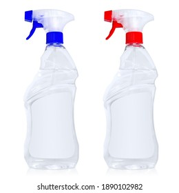 transparent plastic spray bottles with colored caps isolated on a white background