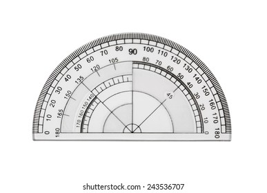 Transparent protractor isolated on white