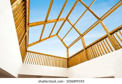 Transparent roof can see the sky, modern architectural interior.
