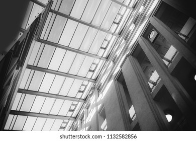 Transparent roof of a modern building