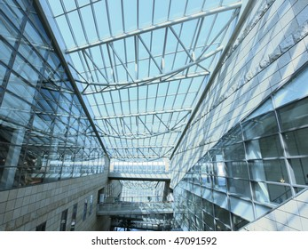 Transparent roof of shopping mall