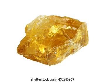 Transparent rough yellow quartz citrine isolated on white background