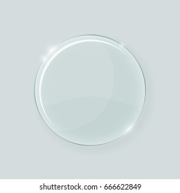 Transparent round glass shape. Abstract geometric crystal clear glass design element template with transparency.