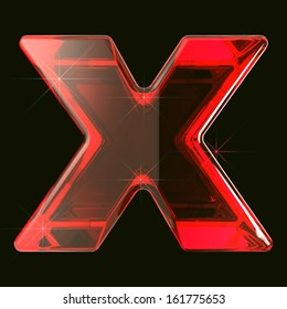 transparent ruby glare 3d letter x isolated on black