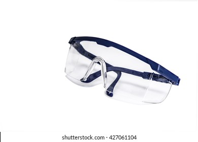 transparent safety goggles with blue frames for power tool operation to prevent harmful splashes of particle in industrial or medical operation