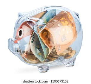 transparent see through piggy bank filled with euro coins and notes isolated on white background