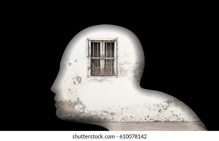 Transparent silhouette of a man's head with a small locked window for the concept: Narrow minded person.