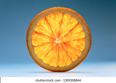Transparent slice of orange. See another picture from the same series.