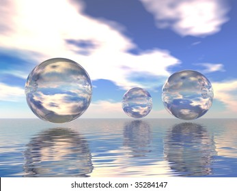 Transparent spheres on water
