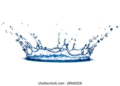 transparent splash of blue water on white background