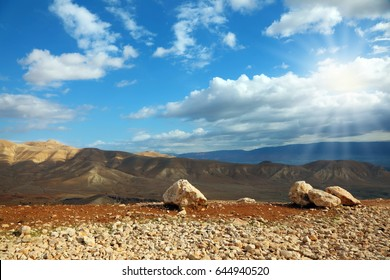 Transparent spring morning in mountains of Samaria. Velvety hills are shined by the morning sun