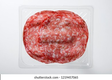 Transparent Tray of Presliced Salame Top View
