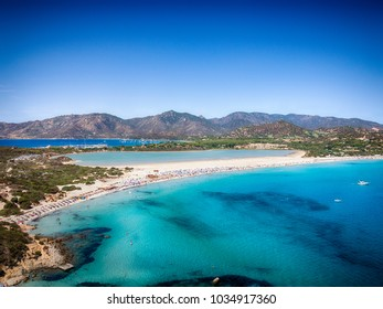Transparent and turquoise sea in Porto Giunco, Villasimius, Sardinia, Italy