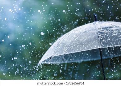 Transparent umbrella under rain against water drops splash background. Rainy weather concept. - Shutterstock ID 1782656951