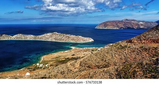 Transparent waters of Agios Pavlos and Nikouria, Aegiali, in Amorgos island, Greece