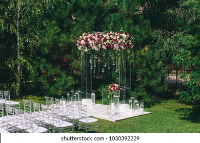 transparent wedding arch for the ceremony
