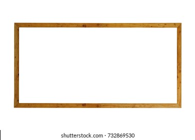 transparent wooden frame isolated on white background. This has clipping path.