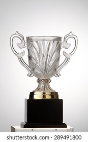 transperant trophy on the white background