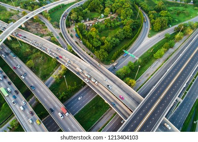Transport city green park junction road aerial view with vehicle movement