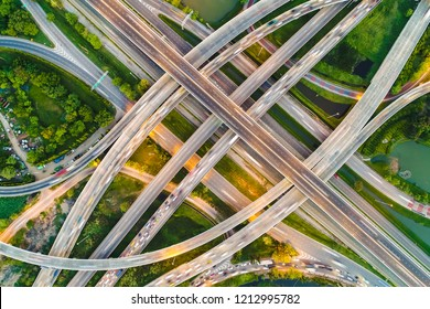 Transport city junction circular road aerial view with vehicle movement
