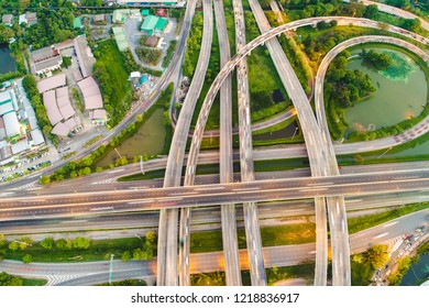 Transport city junction road aerial view with vehicle movement