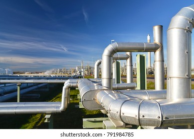 transport of crude oil to a refinery - pipelines and buildings of a chemical factory