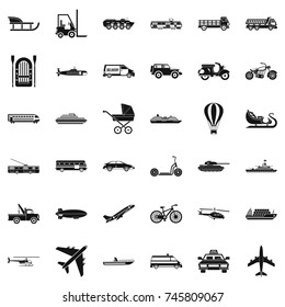 Transport with driver icons set. Simple style of 36 transport with driver  icons for web isolated on white background