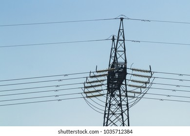 Transport of electricity with blue background