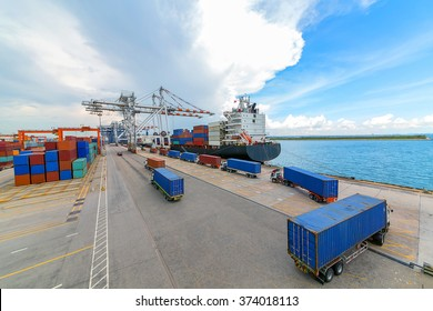 Transport goods in the commercial sea port.