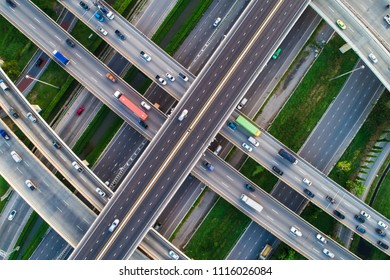 Transport junction traffic road with vehicle movement aerial view by drone