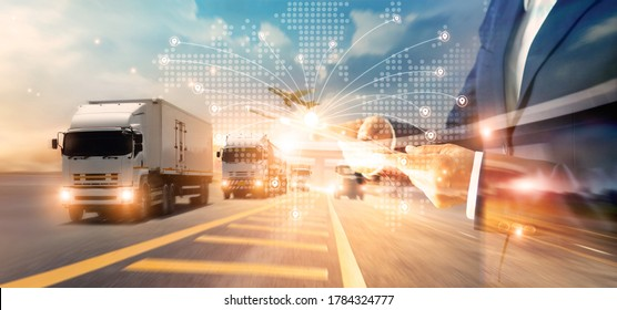 Transport and logistic concept, Freight shipping online, Businessman using tablet and data for global logistic network distribution on world map background, Business and technology.