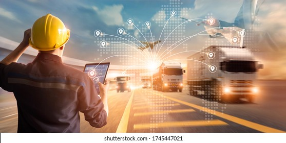 Transport and logistic concept, Manager and engineer checking and control logistic network distribution and data on tablet for logistic Import export on motorway background - Shutterstock ID 1745447021