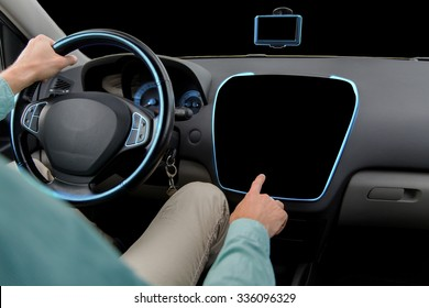 transport, modern technology and people concept - close up of man driving car and pointing finger to black blank on board computer screen