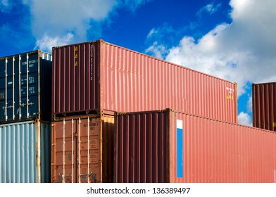 Transport ship containers over the blue sky