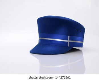 Transport train bus Blue Peak Cap hat on white background with reflection