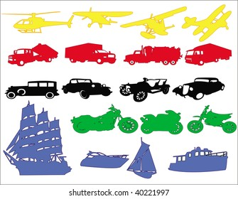 Transport & Travel icons in different colours