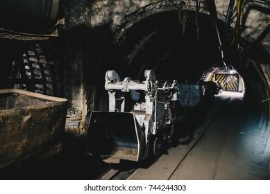 Transport wagon in underground coal mine tunnel