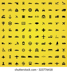 transportation 100 icons universal set for web and mobile