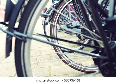 Transportation : Bicycle wheels in Amsterdam, Netherlands