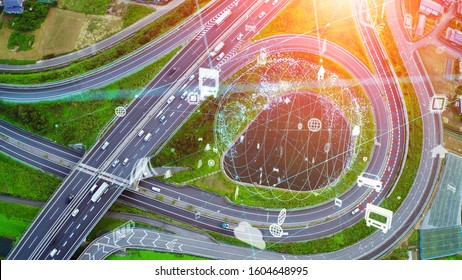 Transportation and communication network concept.