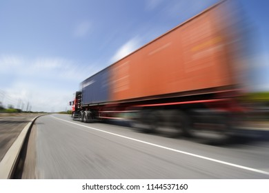 Transportation concept,import,export logistic industrial,Truck on highway road with big container