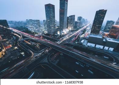 Transportation hub and city skyline of China's major financial cities
