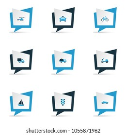 Transportation icons colored set with bogie, sailing ship, traffic light and other stoplight elements. Isolated  illustration transportation icons.
