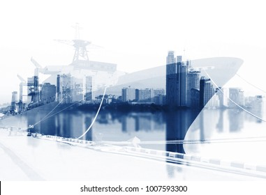 Transportation, import-export and logistics concept,  ship in port  in transport and import-export commercial logistic, shipping business industry