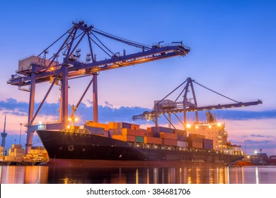 Transportation Industry and Shipping Logistics Loading Dock Port Terminal of Forwarder, Containers Import and Export of Sea Freight Transport Industrial. Port Maritime and Harbor Container Cargo Ship