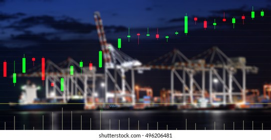 Transportation Logistic Finance  concept ,  Technical bar chart stock market transport logistic background and blurred dusk of  Logistic Import Export background .