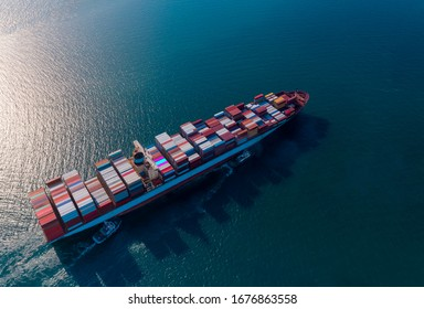 The transportation of  logistics a Container cargo ship, import export business,which Shipping, Nautical Vessel image.
