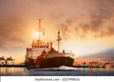 transportation of lpg gas tanker ship  and ship port with beautiful sky