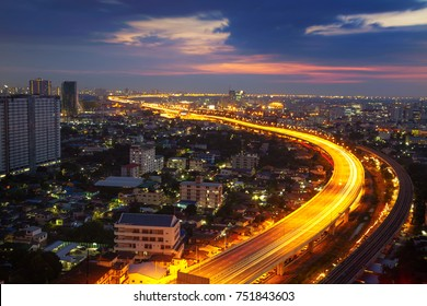 Transportation in modern city, Street night light, light trails at night on motorway, urban view at night time
