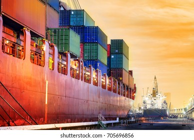 Transportation port shipyard import export concept, Container on the ship at port in the morning, Schedule ship into stock
